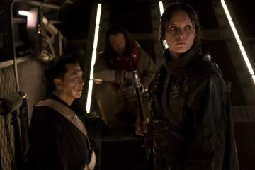 Rogue One A Star Wars Story - Donnie Yen as Chirrut Imwe, Wen Jiang as Baze Malbus, Felicity Jones as Jyn Erso