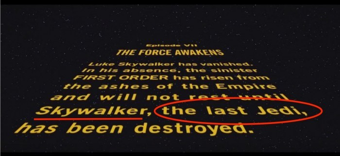 the last jedi in the force awakens opening scroll
